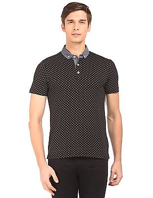 Flying Machine Cross Print Button Down Polo Shirt