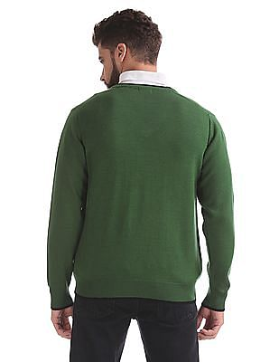 Izod V-Neck Wool Blend Sweater