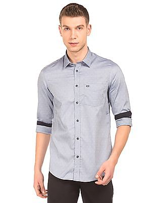 Arrow Sports Patterned Weave Slim Fit Shirt