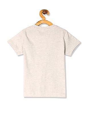 Cherokee Grey Boys Printed Front Melange T-Shirt
