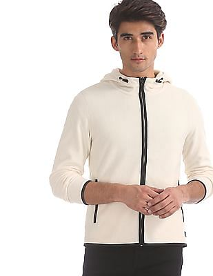 Flying Machine White Contrast Trim Hooded Jacket