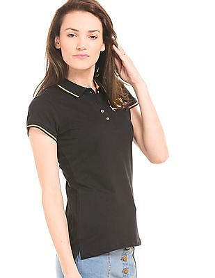Flying Machine Women Tipped Pique Polo Shirt