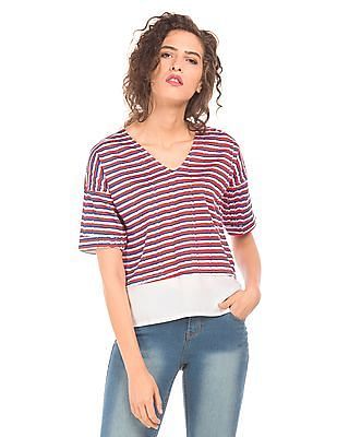 SUGR Striped Panelled Top