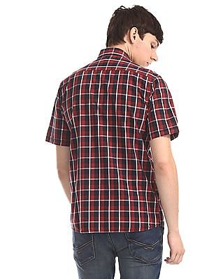 Arrow Sports Red And Black Patch Pocket Check Shirt