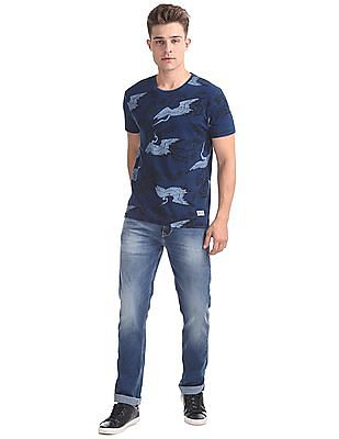 Flying Machine Straight Fit Washed Jeans