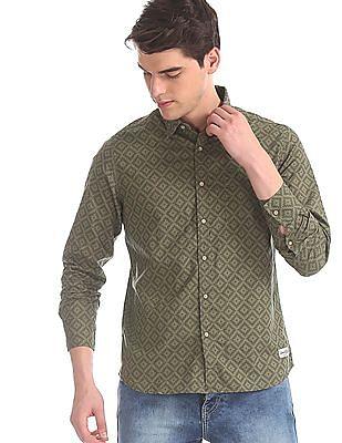 Flying Machine Green Aztec Print Cotton Shirt