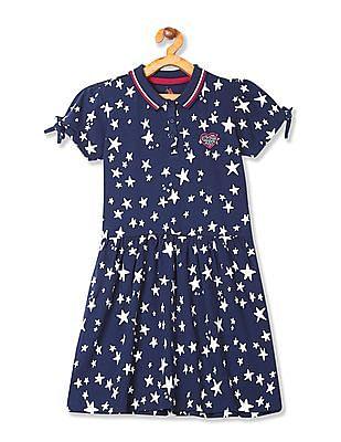 U.S. Polo Assn. Kids Girls Star Print T-Shirt Dress