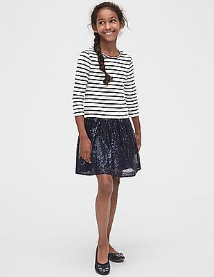 GAP Girls Sequin Tulle Mix-Fabric Dress