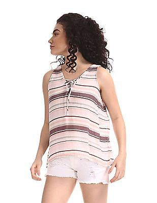 Aeropostale White Lace Up Patterned Striped Top