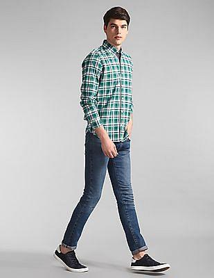 GAP Green Check Cotton Stretch Shirt