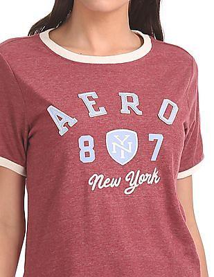 Aeropostale Contrast Neck Appliqued T-Shirt