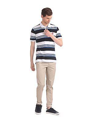 U.S. Polo Assn. White And Blue Cotton Pique Polo Shirt