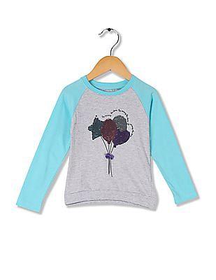 Cherokee Girls Sequin Front Colour Block T-Shirt