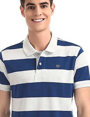 Ruggers Grey And Blue Vented Hem Striped Polo Shirt