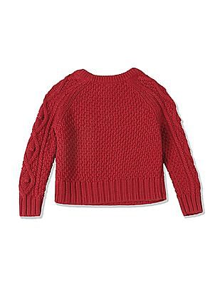 GAP Toddler Girl Red Cable Knit Sweater