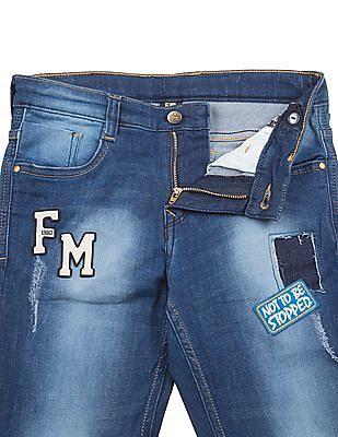 FM Boys Boys Appliqued Front Washed Jeans