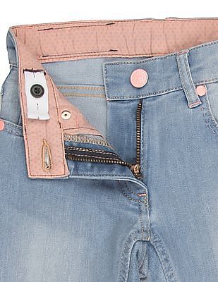 U.S. Polo Assn. Kids Girls Lightly Distressed Stone Washed Jeans