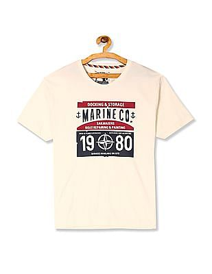 Flying Machine White Printed Front Crew Neck T-Shirt