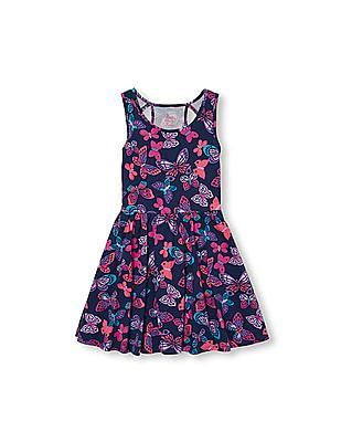 The Children's Place Girls Blue Sleeveless Cutout Back Dress