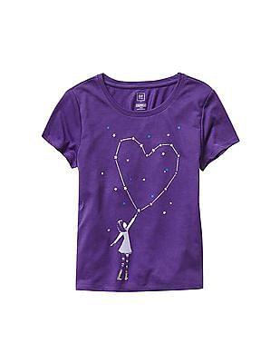GAP Girls Purple Graphic PJ tee