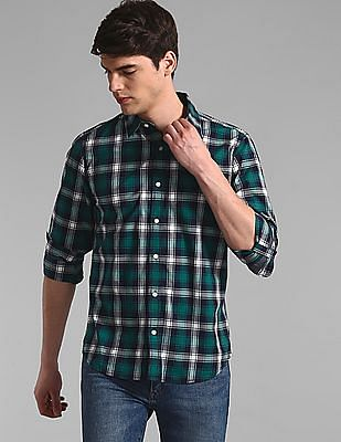 GAP Green Roll Up Sleeve Check Shirt