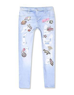 The Children's Place Blue Girls Mid Rise Printed Leggings