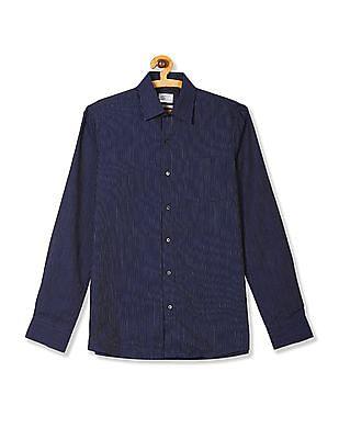 Arrow Blue French Placket Vertical Stripe Shirt