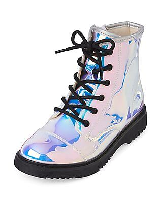 The Children's Place Girls Silver Holographic Lace-Up Roxi Boot