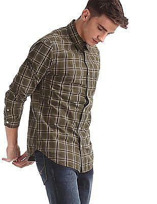 Aeropostale Green Patch Pocket Check Shirt