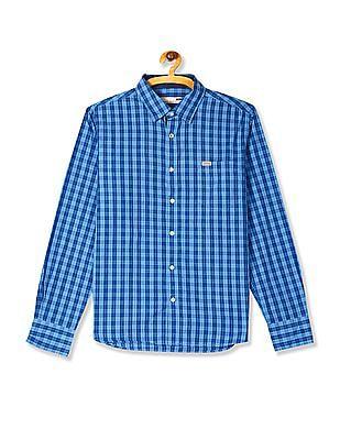 Flying Machine Blue Spread Collar Check Shirt