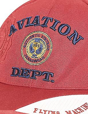 Flying Machine Red Panelled Visor Embroidered Cap