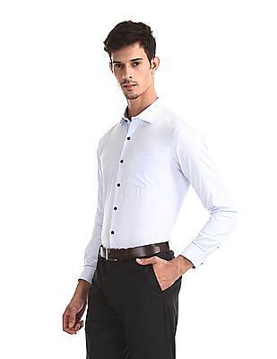 Excalibur Blue Slim Fit Chevron Pattern Shirt