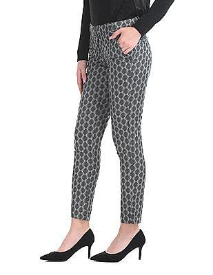 Arrow Woman Slim Fit Patterned Weave Trousers