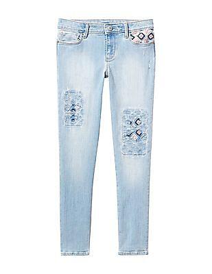 GAP Girls Blue Embroidered High Stretch Super Skinny Jeans
