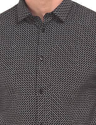 Arrow Newyork Monochrome Print French Placket Shirt