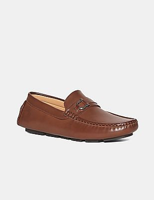 U.S. Polo Assn. Brown Metallic Vamp Strap Loafers