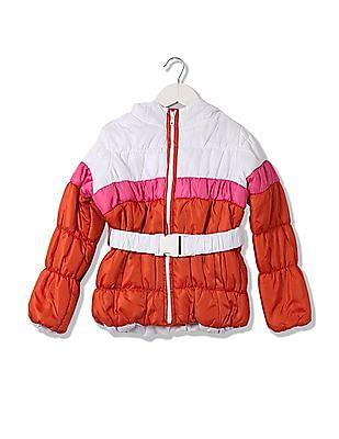 U.S. Polo Assn. Kids Girls Colour Blocked Puffer Jacket