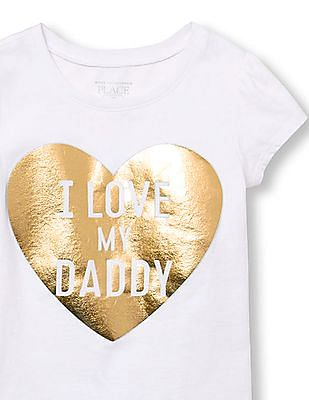 The Children's Place Toddler Girl Short Sleeve 'I Love My Daddy' Heart Graphic Tee