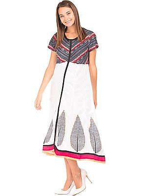 Anahi Mock Placket Printed Kalidar Kurta
