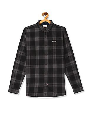 U.S. Polo Assn. Kids Grey Boys Roll Up Sleeve Check Shirt