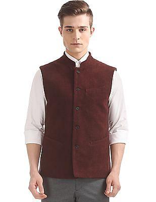 Arrow Slim Fit Textured Weave Nehru Jacket