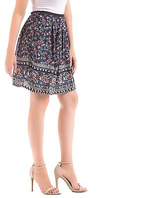 Elle Floral Print Flared Skirt