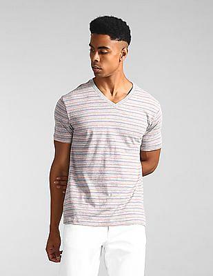 GAP Grey V-Neck Striped T-Shirt