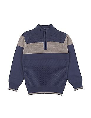 Cherokee Boys Patterned Zip Up Sweater