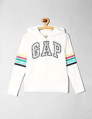 GAP White Girls Glitter Logo Hooded Sweatshirt