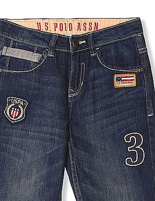 U.S. Polo Assn. Kids Boys Stone Wash Appliqued Jeans
