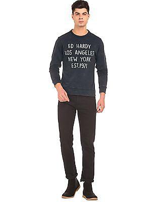 Ed Hardy Brand Print Washed Sweatshirt