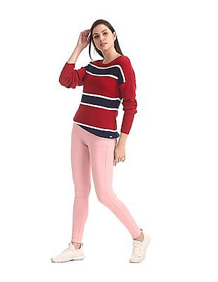 U.S. Polo Assn. Women Red Round Neck Striped Sweater