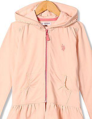 U.S. Polo Assn. Kids Girls Zip Up Hooded Sweatshirt
