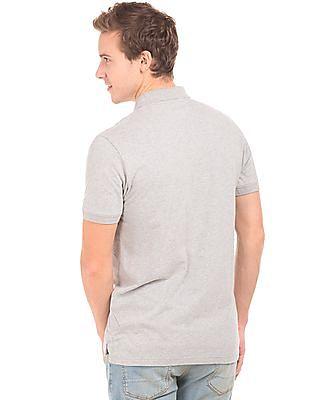 Aeropostale Appliqued Heathered Polo Shirt